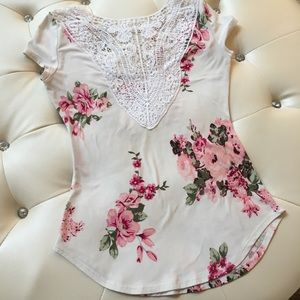 White and pink floral shirt lace detail caging